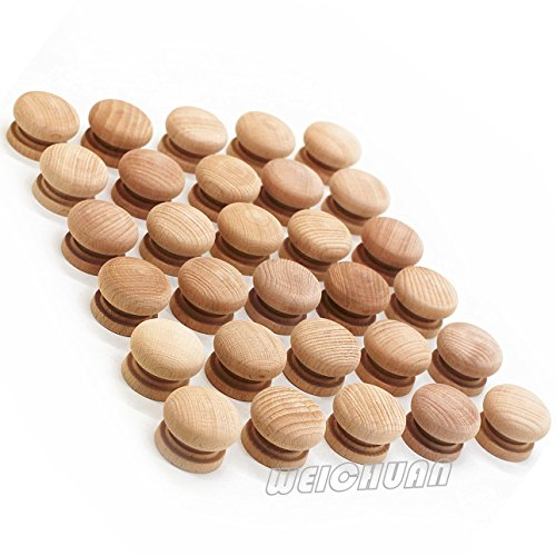 WEICHUAN 30PCS Unfinished Beech Wood Drawer Knobs Pulls Handles - Cabinet Furniture Drawer Knobs Pulls Handles (Diameter: 1-1/2 Inches Height: 1 Inch) - Unfinished Wood Drawer Knobs