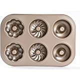 Bakerdream Donut Pan Makes 6 Donuts,3 Pattern and Non-Stick Donut Mold Safe Baking Tray Maker Pan for Cake Biscuit Bagels Donut Cake Mold