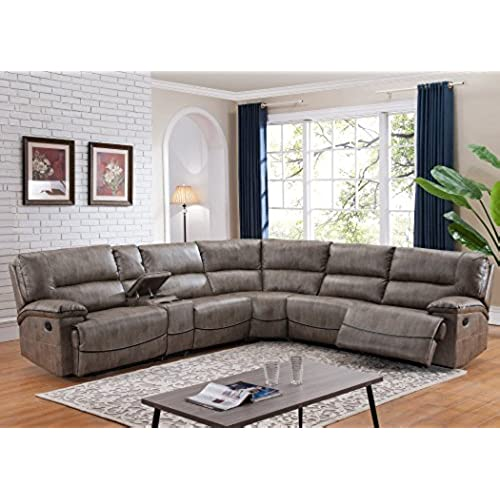 Donovan 6 Piece Sectional With 3 Recliners