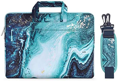 MOSISO Laptop Shoulder Bag Compatible with 2019 MacBook Pro 16 inch A2141, 15 15.4 15.6 inch Dell Lenovo HP Asus Acer Samsung Chromebook, Creative Wave Marble Carrying Briefcase Handbag Sleeve Case