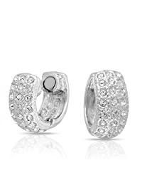 Bling Jewelry Crystal Magnetic Rhodium Plated Huggie Hoop Clip On Earrings