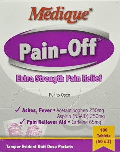 1518646 PT# 228-33 Pain-Off Apap Aspirin Caf Tablet 250mg/ 250mg/ 65mg 2s 50x2/Bx Made by Medique ()