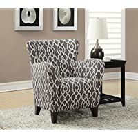Monarch Specialties Grey/Beige Wave Fabric Club Chair, 35-Inch