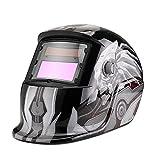 Flexzion Auto Darkening Welding Helmet Solar Powered Weld/Grind Selectable Mask Tool Arc Tig Mig Lens Cover Face Protector for Grinding Plasma Cutting Adjustable Shade Range 9-13 Robot Skull Pattern