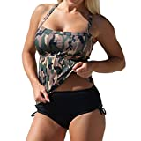 Eternatastic Women's Bandeau Camo Tankini Swimwear With Panty Two Pieces Swimsuit Set