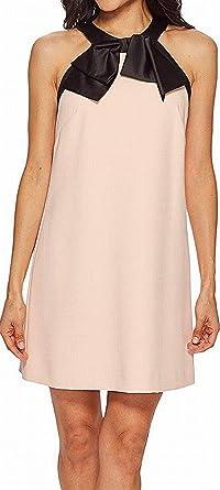 feb4680675b3 Tahari ASL Women's Petite Crepe/Satin Bow Neck Shift Dress Blush/Black 10