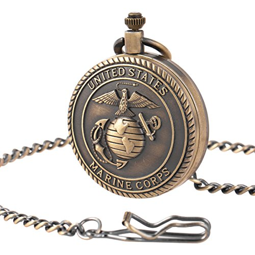 SIBOSUN Pocket Watch Mens Bronze Antique United States Marine Corps Pattern for Eagle Scout ()