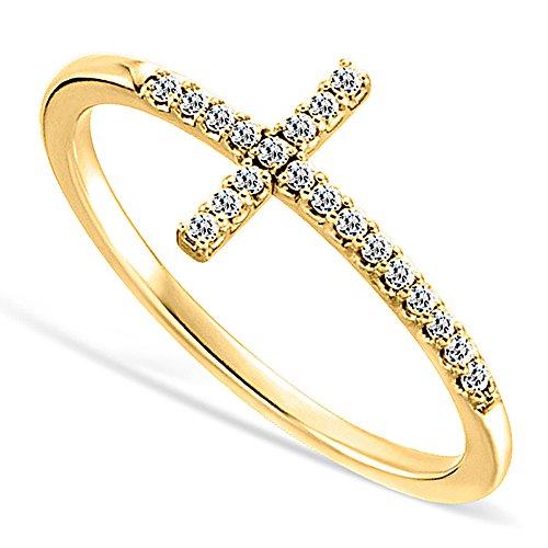 DTLA Sideways Cross CZ Yellow Gold Plated Sterling Silver Ring
