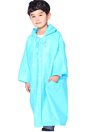 91e48a407c6 QZUnique Kids  Lightweight Long Raincoat Place Waterproof Packable Jackets  with Hood Blue ...