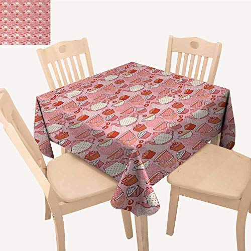 PriceTextile Tea Party Jacquard Tablecloth Tea Time Themed Illustration with Cherries and Cupcakes of Many Flavors Dining Table Cover Pink Beige Orange W 70