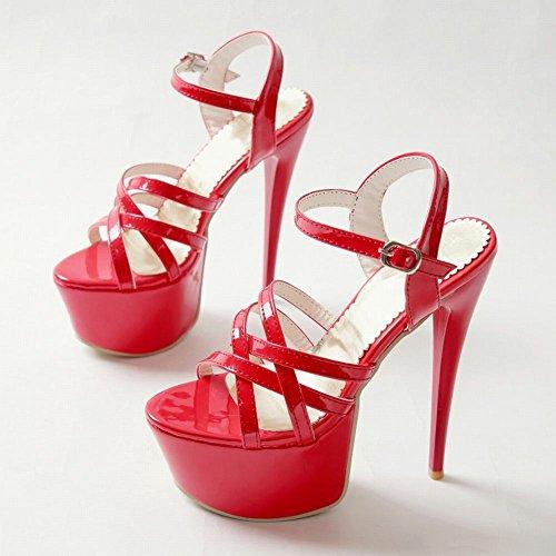 la talons mode Sandales à hauts Carolbar mode avec plateforme plateforme la et Rouge à femmes et pour à xf1xYwFq0A