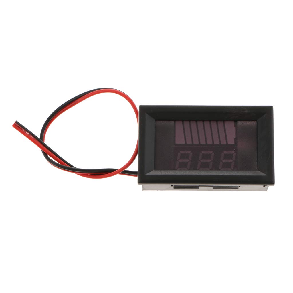 B Blesiya Indicateur Testeur /à LED Capacit/é de Batterie Num/érique Rouge 12v-60v