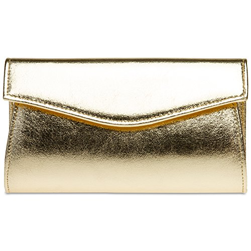 CASPAR TA426 Beautiful Ladies Envelope Clutch/Elegant Evening Bag with Metallic Surface Gold