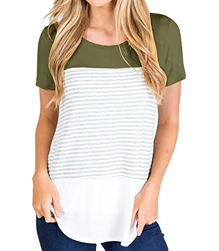 Inorin Womens Short Sleeve Round Neck Triple Color Block Striped Casual Summer T Shirts Cute Tees Tops