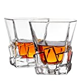 MIVIM Whiskey Glasses, Double Old Fashioned Glass 10 oz- Set of 2. Premium Lead-Free Crystal Glass Cups Clarity Fits Large Ice Cube, Scotch, Bourbon, Irish Whisky, Brandy.Beautiful Gift Box.