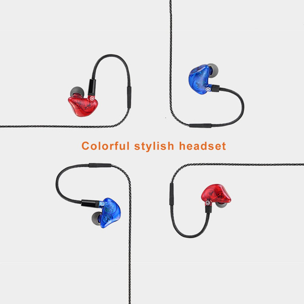 OKCSC HiFi Dual Driver Dynamic Earphone,in Ear Sport Headphones with Microphone for Running red Blue