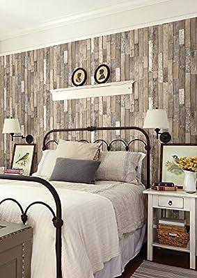 Brewster Wallcovering Co FD23274 Barn Board Brown Thin Plank Wallpaper,