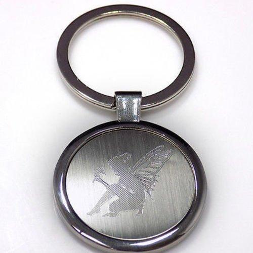 Fairy Fairies Silhouette Keychain Key Tag Engraved Silver Tone Metal (Silhouette Metal Keychain)