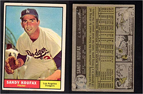 1961 Topps Regular (Baseball) card#344 Sandy Koufax of the Los Angeles Dodgers Grade Fair/Poor