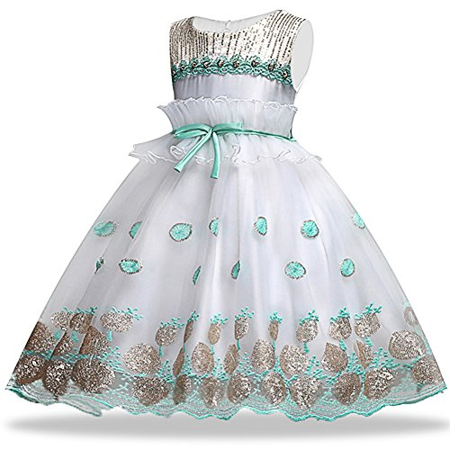 Girl Dresses Size 6 Blush Sleeveless 4-5 Years for Wedding Pageant Dresses for Girls 5-6 Floor Length 6-7 Lace Sequins Tulle Ball Gown Children Formal Party Prom Halloween Long (2-3 Years Green 100)]()