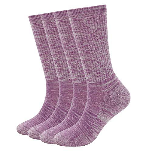 EnerWear 4 Pack Women's Merino Wool Outdoor Hiking Trail Crew Sock(US Shoe Size 4-10½, Fuchsia Stripe)