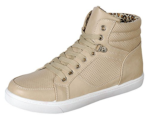 JS AWAKE Womens Perla-02 Ankle High Top Fashion Sneakers,Beige,6