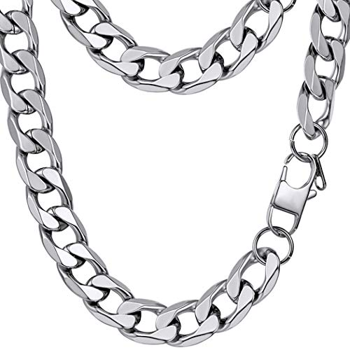(PROSTEEL Cuban Link Necklace Stainless Steel 13mm Big Wide Chain Chunky Choker Necklace 24'' Men Jewelry Gift )