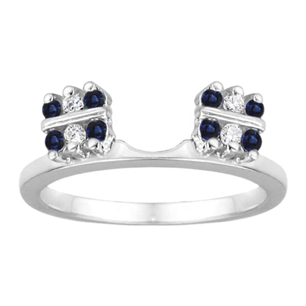Diamond and Created Sapphire Ring Wrap Enhancer set in Sterling Silver (0.32 ct. twt)
