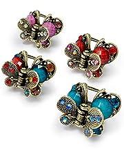 Kavya® Haarclip klein, vlinder ouderwetse bloem haargrijper Franse vintage haaraccessoires metalen haarspelden accessoires mini spinnen dames meisjes 4 stuks