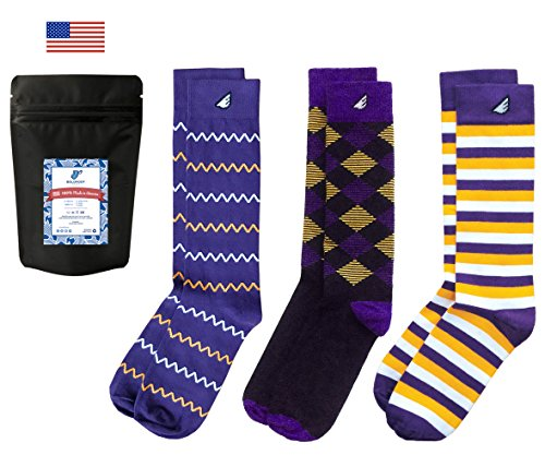 (Mens Dress Socks Colorful Fun Purple Gold Gift 3-Pack Awesome Happy, Made in America)