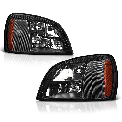 VIPMOTOZ Black Housing Headlight Headlamp Assembly For 2000-2005 Cadillac Deville, Driver & Passenger Side ()