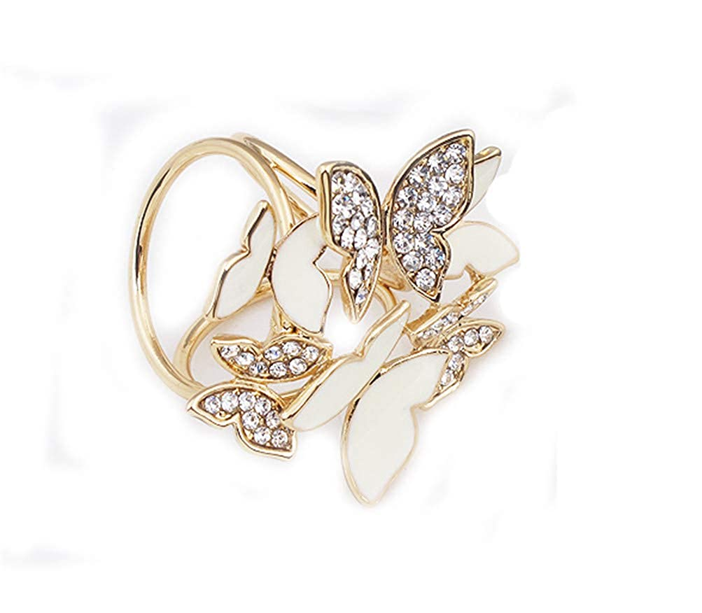 SIYWINA Fashion Scarf Ring Buckle Scarf Clip Butterfly Triple Slide Jewelry Shiny Clothing XSJK001