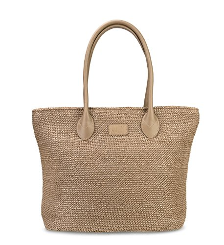 Hoxis Weekender Lightweight Synthetic Straw Shopper Tote Womens Shoulder Handbag (Tan) ()