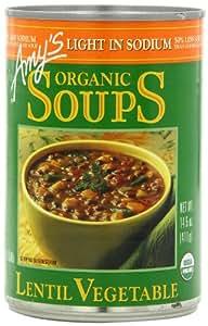 Amy's Organic Lentil Vegetable Low Salt Soup, 14.5-Ounce Cans (Pack of 12)