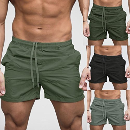 2019 Summer New ! PASATO Classic Men Gym Casual Sports Jogging Elasticated Waist Shorts Pants (Army Green, M) by PASATO (Image #6)