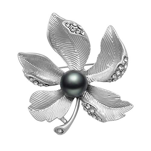 New Arrival Matte Gold/Silver Color Plated Simulated Pearl and Rhinestones Five Petals Flower Brooches for Women ()