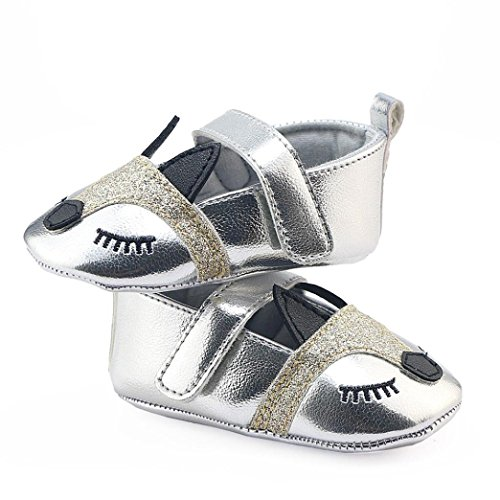Clode® Neugeborene Säuglings Baby Mädchen Fox Muster Krippe schuhe Weiche alleinige Anti-Rutsch Turnschuhe Silber