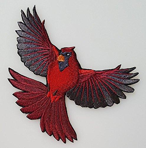Cardinal Patch - Cardinal Bird Flying Embroidered Patch (3.6