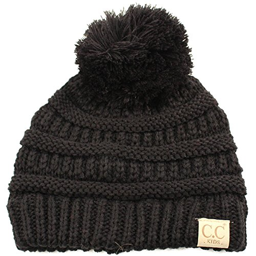 Kids Ages 2-7 Pompom Chunky Thick Stretchy Knit Slouch Beanie Cap Hat Black (Best Toboggan For Toddler)