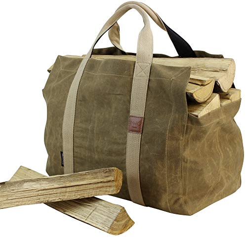 (INNO STAGE 16oz Waxed Canvas Firewood Log Carrier with Double Straps for Reinforce - Both Inside and Outside for Wood Holder)