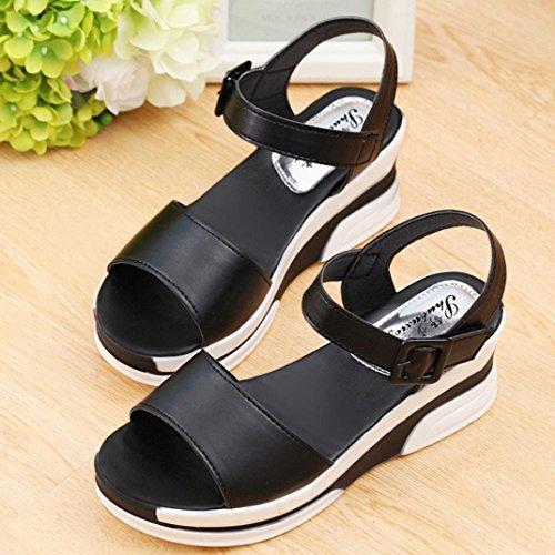 Sandalias Peep sandalias mujer bajo de Negro vestir ojotas verano Ouneed Moda zapatos toe q0nwqpxar