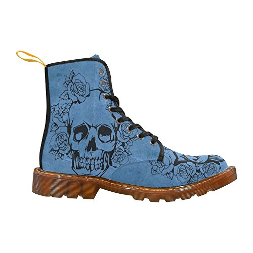 LEINTEREST Fashion roses Skull For Boots with blue Martin Men Shoes aWrAacqn
