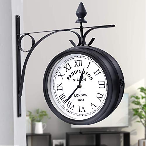 Iron Black Garden Paddington Station Wall Clock Double Sided Outside Bracket UK