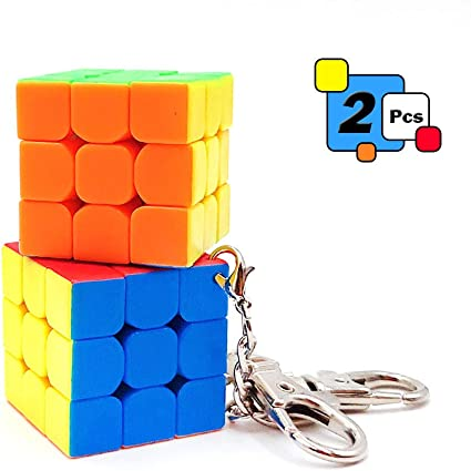 2 Pcs Mini 3x3 Cube Keychains, 1.18 Inch Speed Rubiks Key Ring