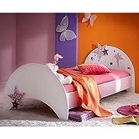 Jugendbett Sternchen 90 * 200 cm lila weiß Kinderbett Jugendliege Bettliege Bett Holz Bettgestell Mädchen Jugendzimmer Kinderzimmer