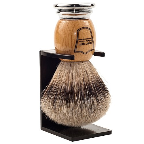 Parker Safety Razor 100% Silvertip Badger Bristle Shaving with Deluxe Olivewood & Chrome Handle -- Brush Stand Included by Parker Safety Razor