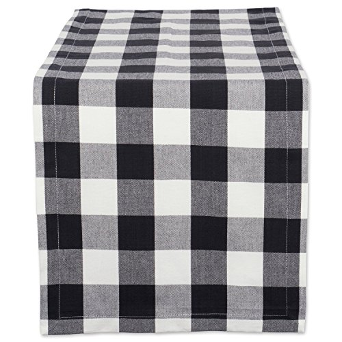 DII Cotton Buffalo Check Table Runner for Family Dinners or Gatherings, Indoor or Outdoor Parties, Everyday Use (14x72, Seats 4-6 People), Black & (4 Piece Blue Table Napkins)