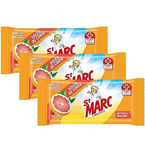 St. Marc - Toallitas perfumadas antibacterianas «Sol de Córcega» - 80 unidades por