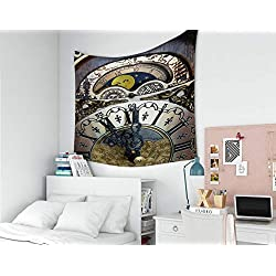 Musesh Wall Tapestry, Polyster Tapestry Wall Hanging for Bedroom Living Room Decor Calendar with Moon Phases Above The dial of Mantel Clock 60x50 Inches Size