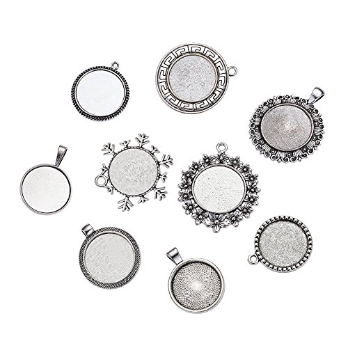 Kissitty 250 Grams Mixed Style Alloy Bezel Pendant Cabochon Settings Blank Trays Antique Silver 25mm (1) Inner Dia.